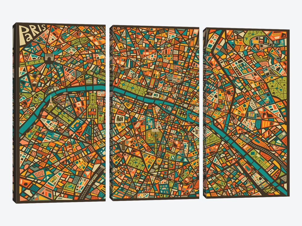 Paris Street Map 3-piece Art Print