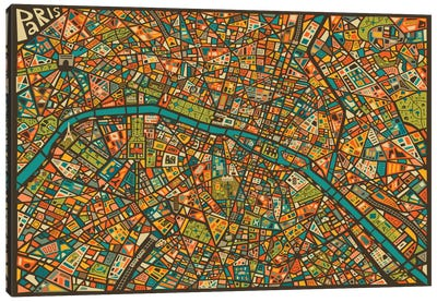 Paris Street Map Canvas Art Print
