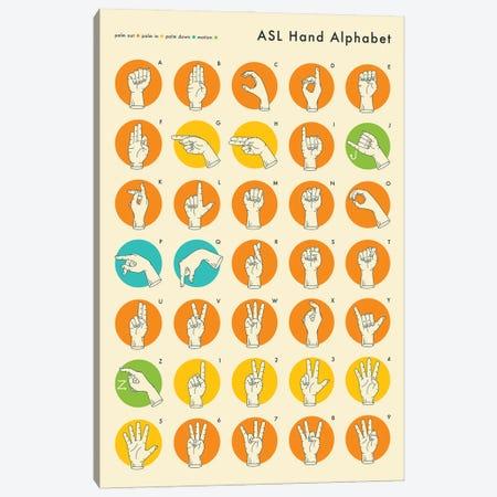 Sign Language Hand Alphabet Canvas Print #JBL67} by Jazzberry Blue Canvas Artwork