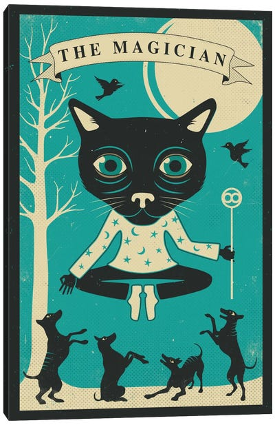 Tarot Card Cat Magician Canvas Print #JBL74