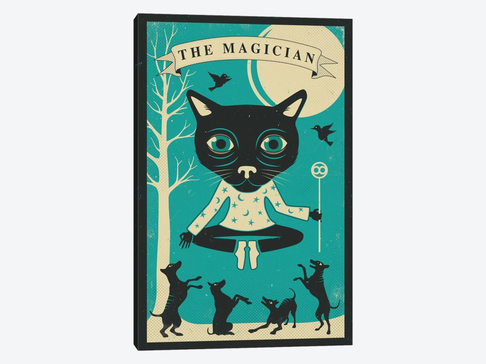 Tarot Card Cat Magician 1-piece Canvas Art