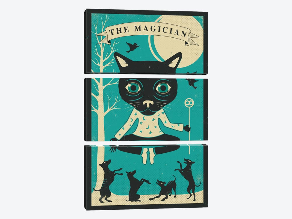 Tarot Card Cat Magician 3-piece Canvas Artwork