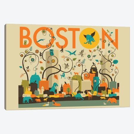Wild Boston Canvas Print #JBL80} by Jazzberry Blue Canvas Art Print