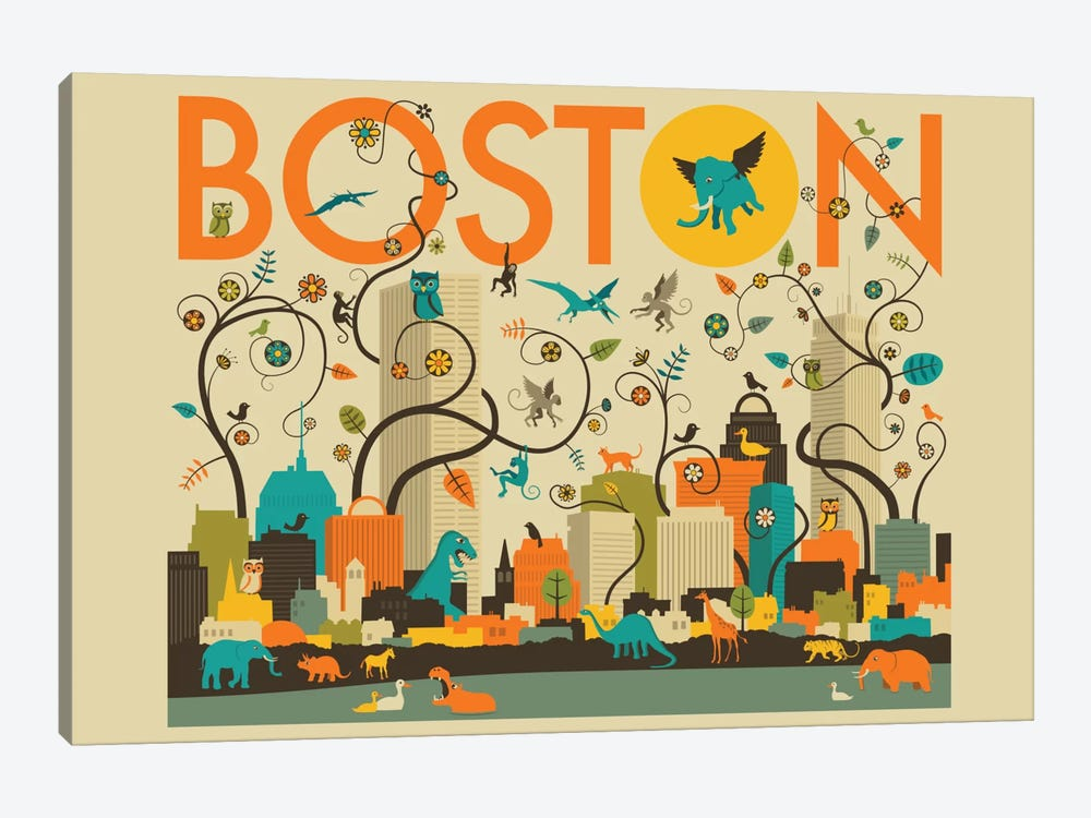 Wild Boston by Jazzberry Blue 1-piece Canvas Print