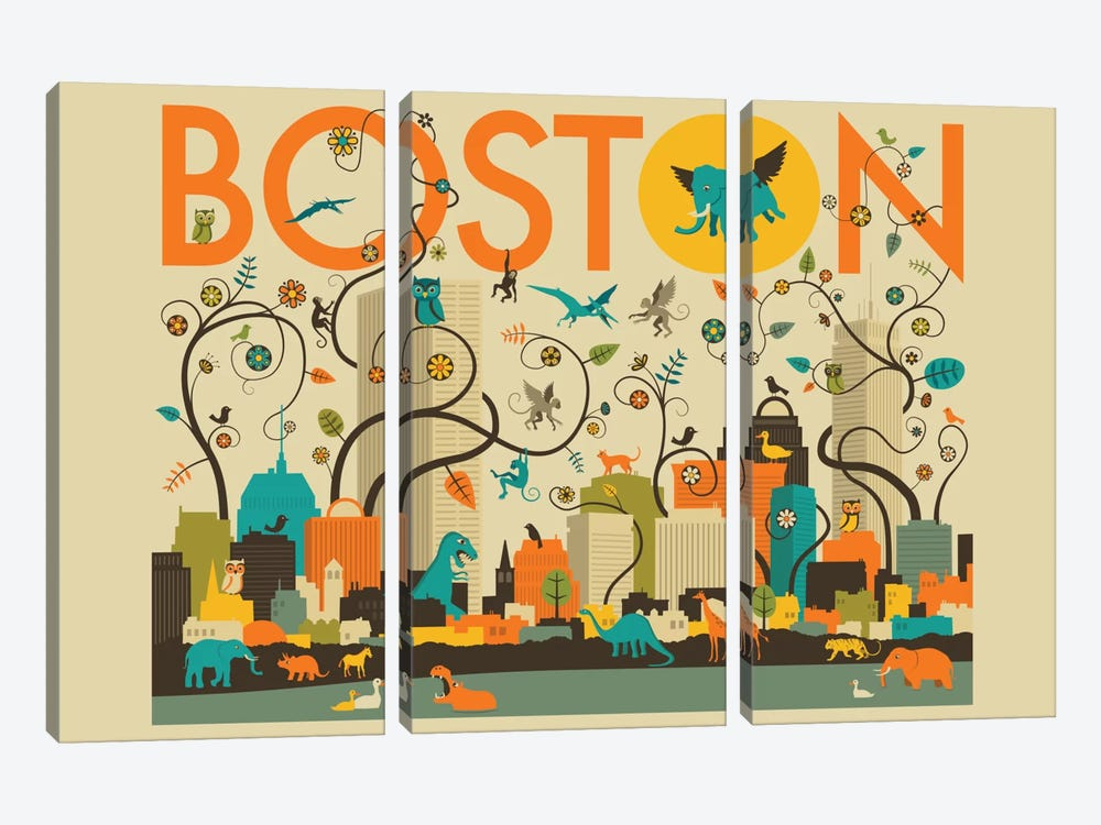 Wild Boston by Jazzberry Blue 3-piece Canvas Print
