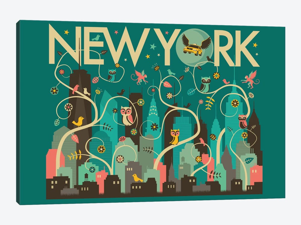 Wild New York by Jazzberry Blue 1-piece Canvas Artwork