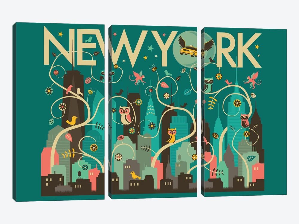 Wild New York by Jazzberry Blue 3-piece Canvas Art