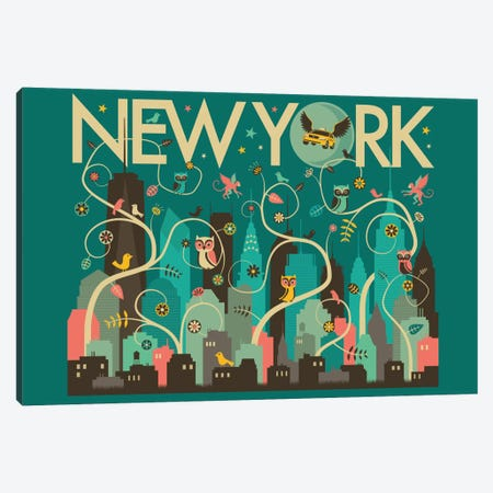 Wild New York Canvas Print #JBL81} by Jazzberry Blue Canvas Print