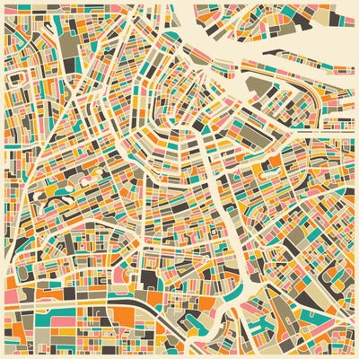 Abstract City Map of Amsterdam Canvas Wall Art by Jazzberry Blue