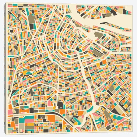 Abstract City Map of Amsterdam Canvas Print #JBL87} by Jazzberry Blue Canvas Wall Art