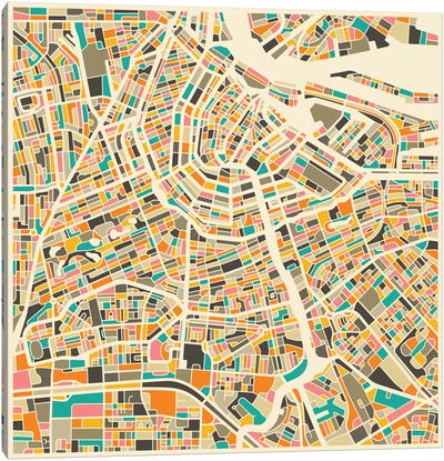 Abstract City Map of Amsterdam Canvas Print #JBL87