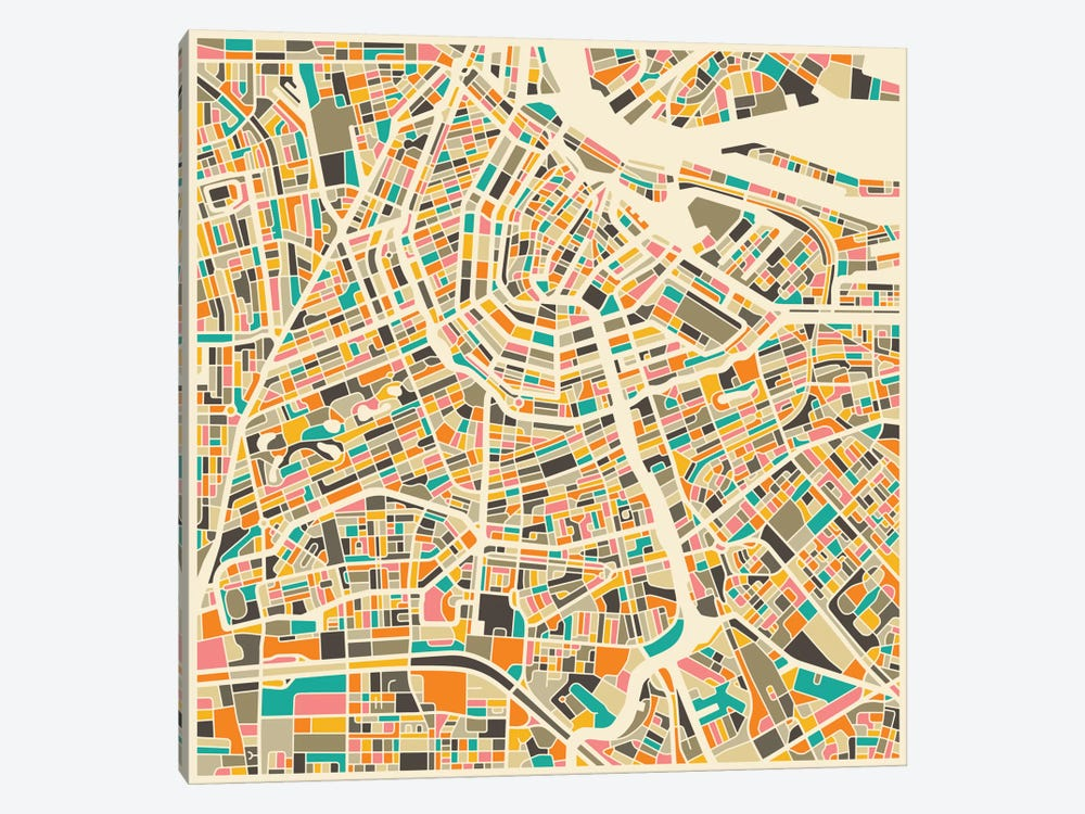 Abstract City Map of Amsterdam by Jazzberry Blue 1-piece Canvas Artwork