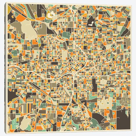 Abstract City Map of Atlanta Canvas Print #JBL88} by Jazzberry Blue Canvas Print
