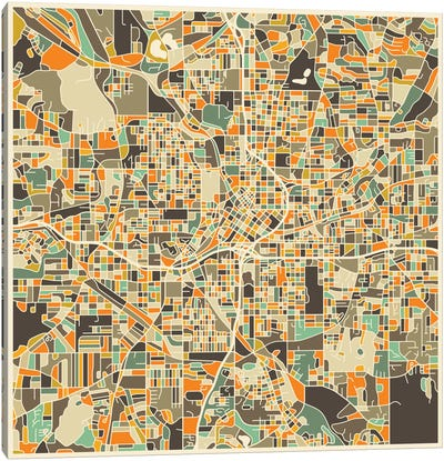 Abstract City Map of Atlanta Canvas Art Print