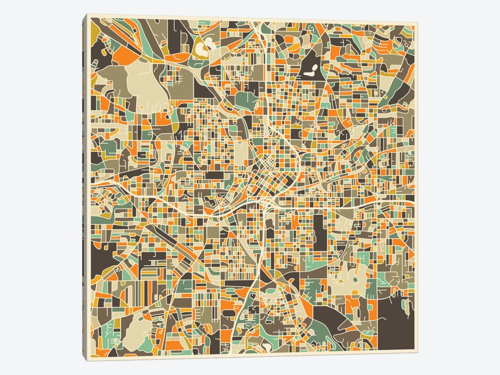 Abstract City Map of Atlanta by Jazzberry Blue 1-piece Art Print