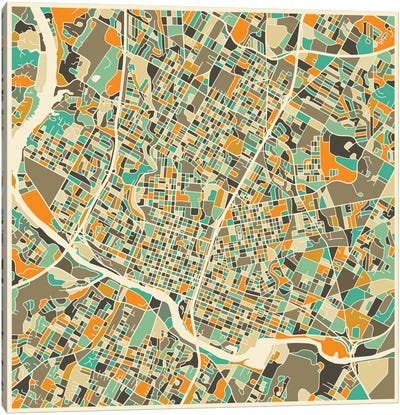 Abstract City Map of Austin Canvas Art Print