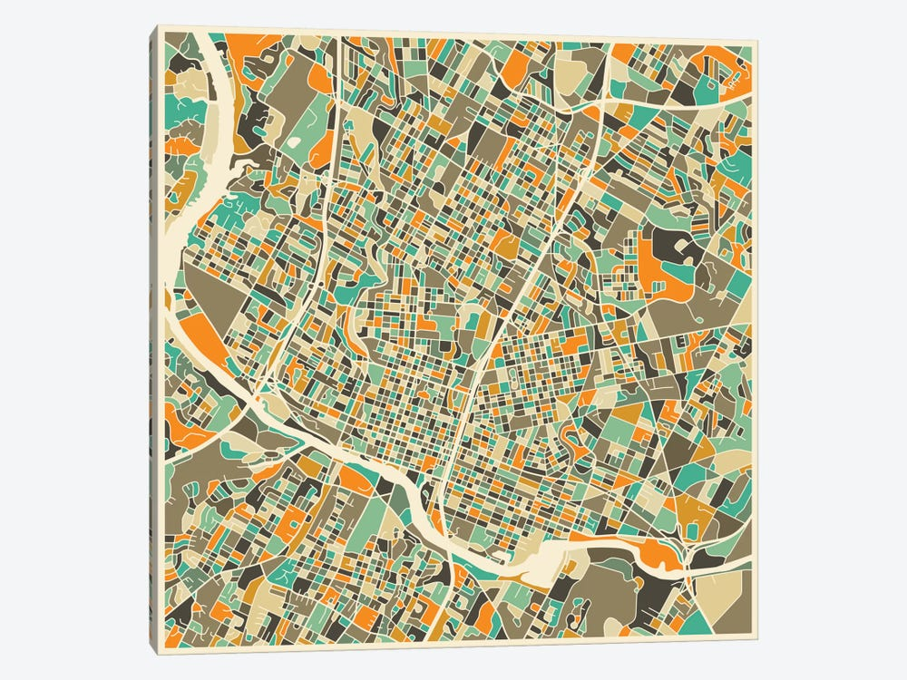 Abstract City Map of Austin by Jazzberry Blue 1-piece Canvas Art