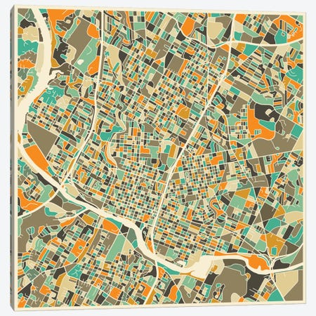 Abstract City Map of Austin Canvas Print #JBL89} by Jazzberry Blue Canvas Art Print
