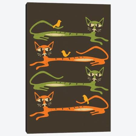 Birds On A Cat Canvas Print #JBL8} by Jazzberry Blue Art Print