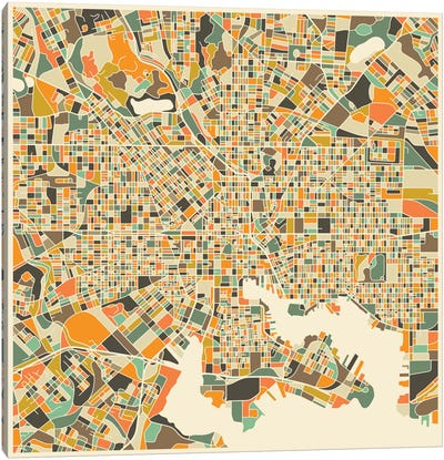 Abstract City Map of Baltimore Canvas Art Print