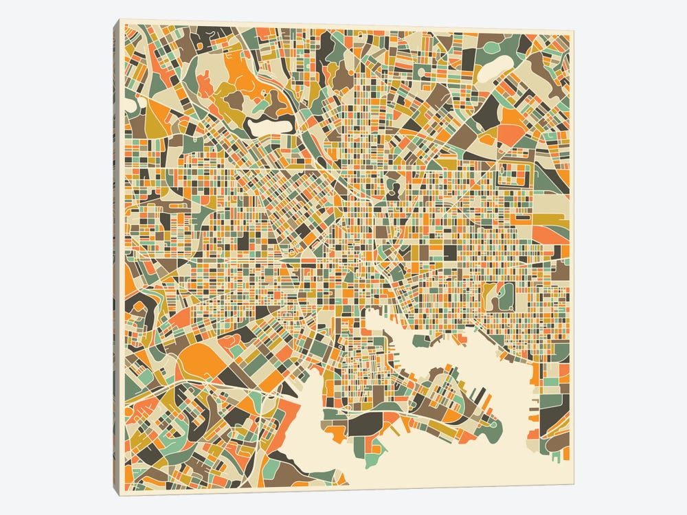 Abstract City Map of Baltimore by Jazzberry Blue 1-piece Canvas Artwork