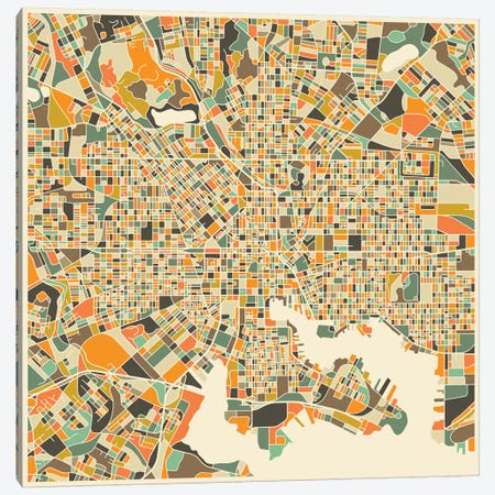 Abstract City Map of Baltimore Canvas Print #JBL90} by Jazzberry Blue Canvas Artwork