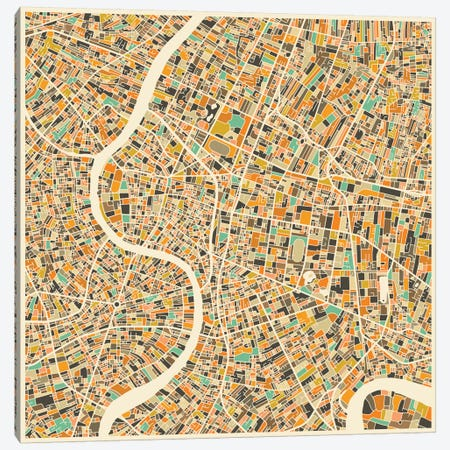 Abstract City Map of Bangkok Canvas Print #JBL91} by Jazzberry Blue Canvas Art