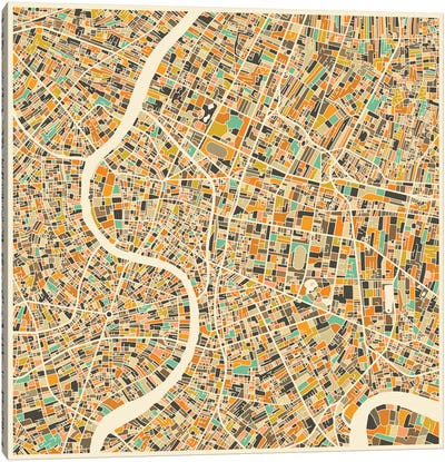 Abstract City Map of Bangkok Canvas Art Print
