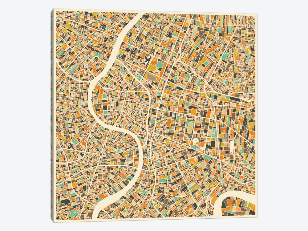 Abstract City Map of Bangkok by Jazzberry Blue 1-piece Art Print