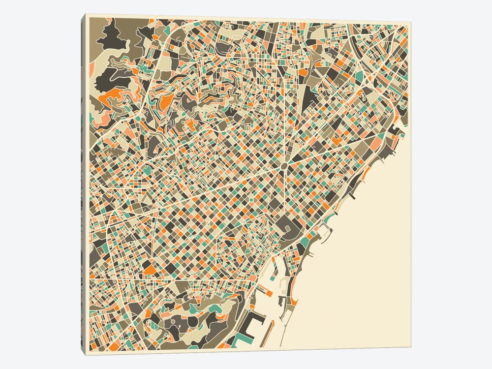 Abstract City Map of Barcelona by Jazzberry Blue 1-piece Canvas Artwork