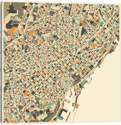Abstract City Map of Barcelona Canvas Print #JBL92