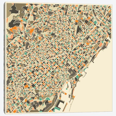 Abstract City Map of Barcelona Canvas Print #JBL92} by Jazzberry Blue Canvas Art