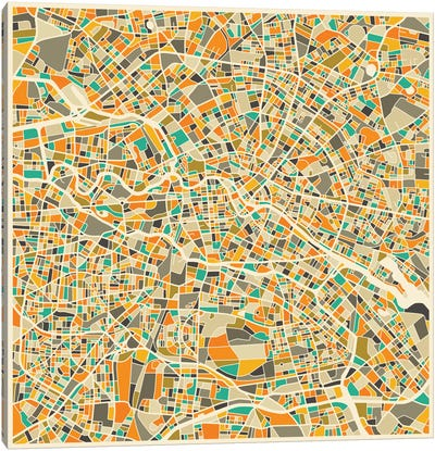 Abstract City Map of Berlin Canvas Art Print