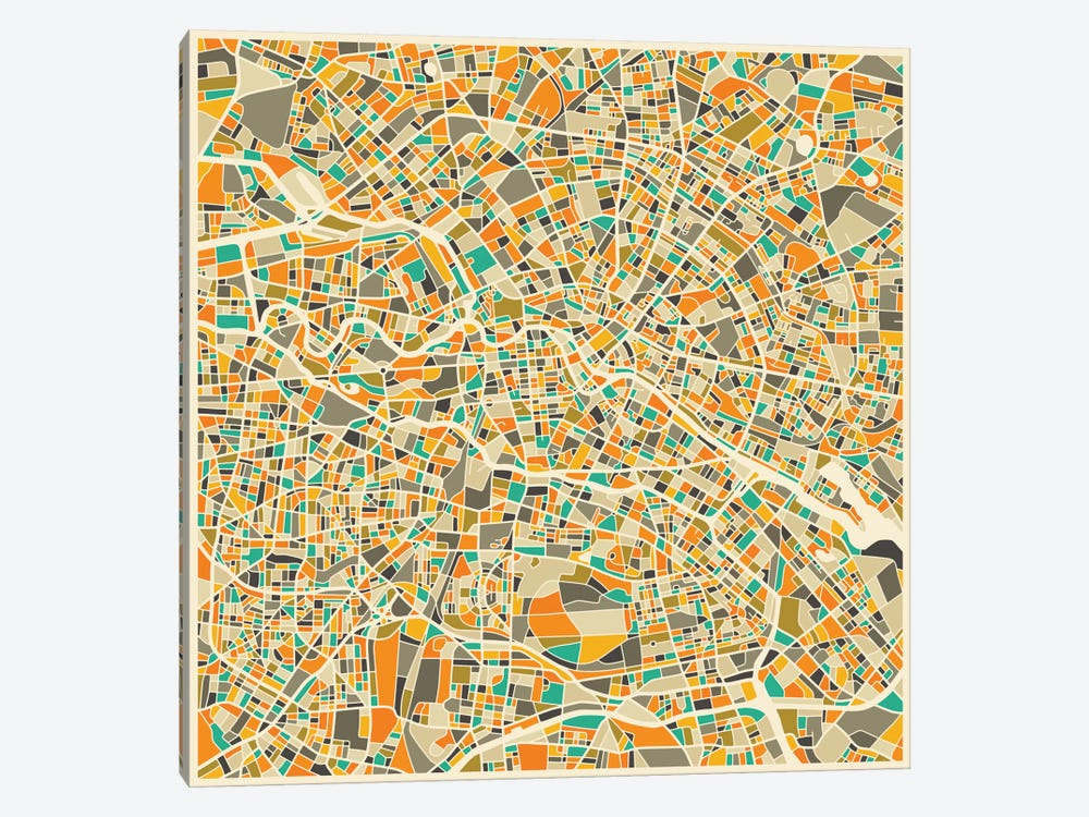 Abstract City Map of Berlin by Jazzberry Blue 1-piece Art Print