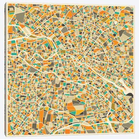 Abstract City Map of Berlin Canvas Print #JBL93} by Jazzberry Blue Canvas Art