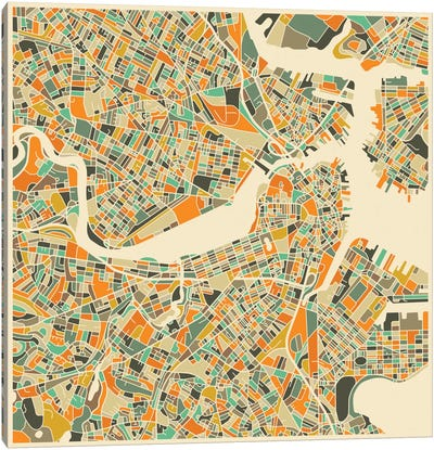 Abstract City Map of Boston Canvas Art Print