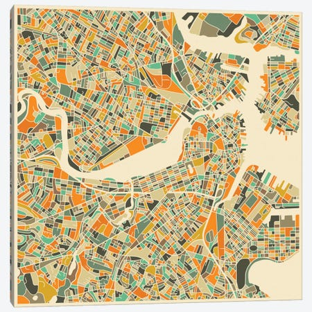 Abstract City Map of Boston Canvas Print #JBL94} by Jazzberry Blue Canvas Print
