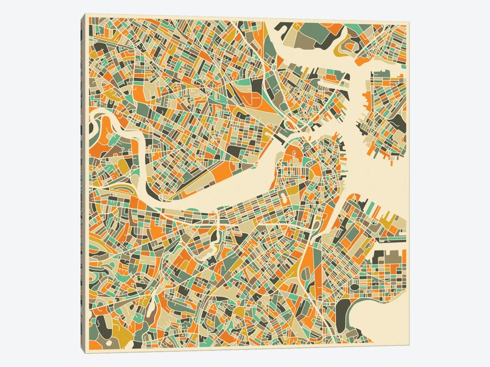 Abstract City Map of Boston by Jazzberry Blue 1-piece Canvas Artwork