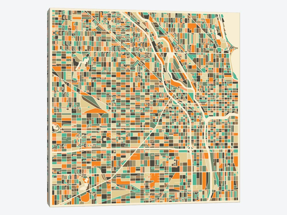 Abstract City Map of Chicago by Jazzberry Blue 1-piece Canvas Artwork