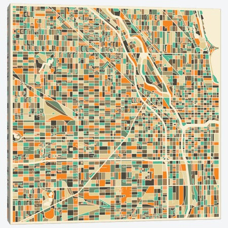 Abstract City Map of Chicago Canvas Print #JBL96} by Jazzberry Blue Canvas Print