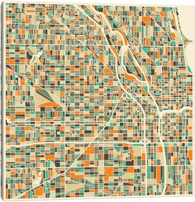 Abstract City Map of Chicago Canvas Art Print