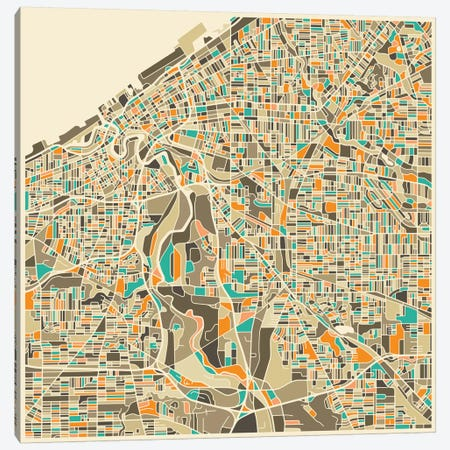 Abstract City Map of Cleveland Canvas Print #JBL97} by Jazzberry Blue Canvas Print