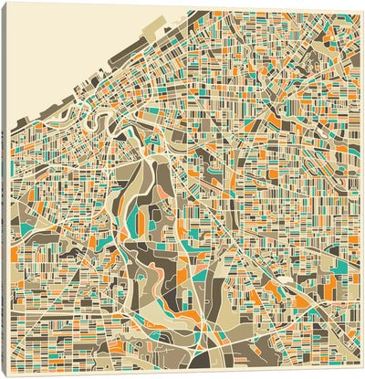 Abstract City Map of Cleveland Canvas Art Print