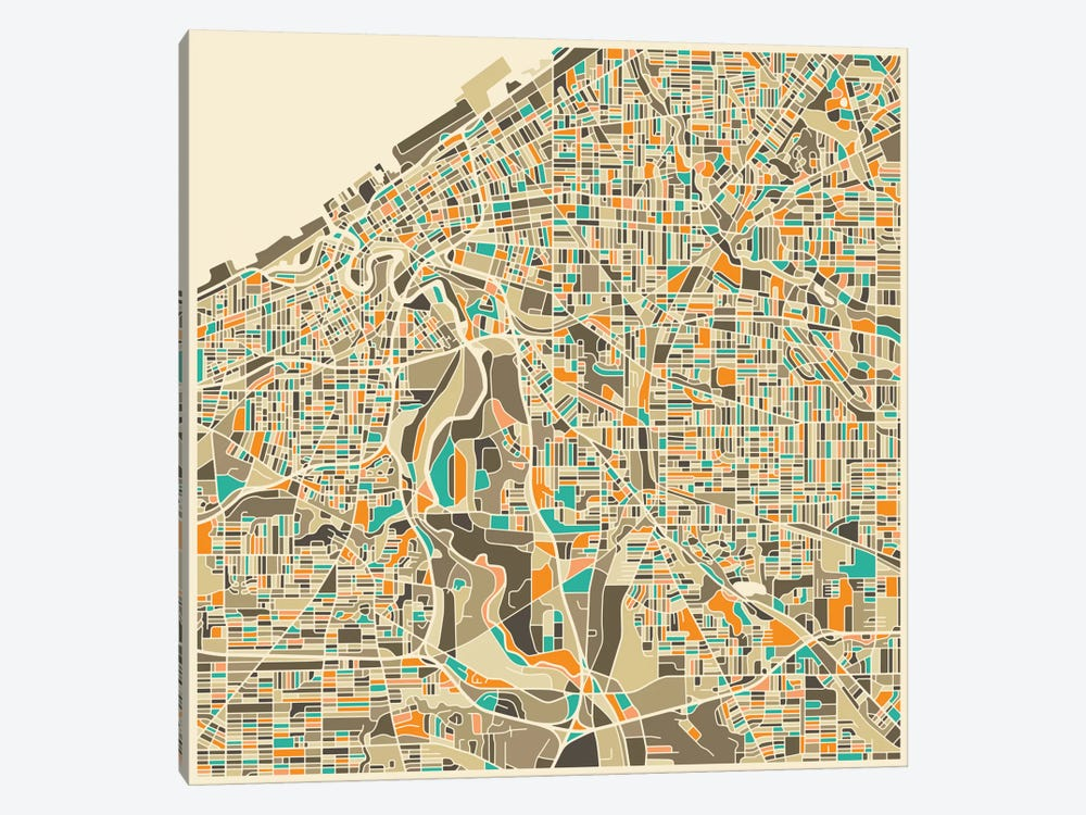 Abstract City Map of Cleveland by Jazzberry Blue 1-piece Art Print