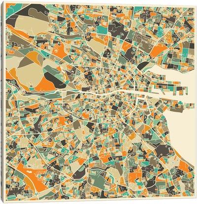 Abstract City Map of Dublin Canvas Art Print
