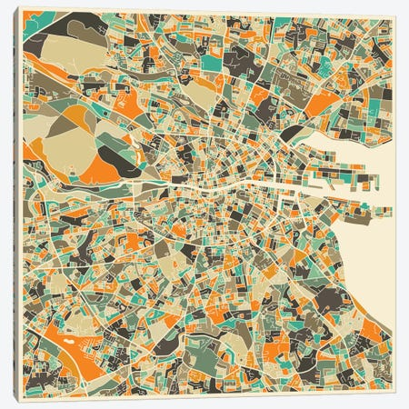 Abstract City Map of Dublin Canvas Print #JBL98} by Jazzberry Blue Canvas Art