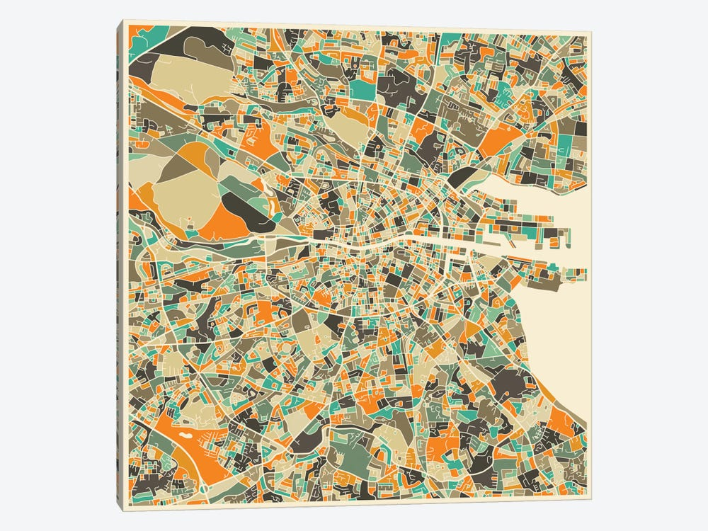 Abstract City Map of Dublin by Jazzberry Blue 1-piece Canvas Art