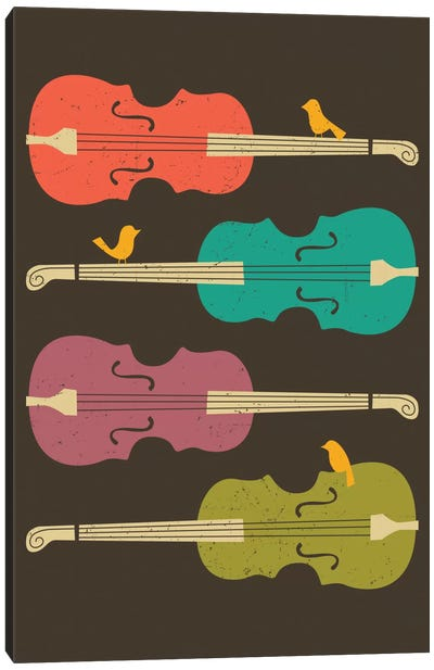Birds On A Cello String Canvas Art Print