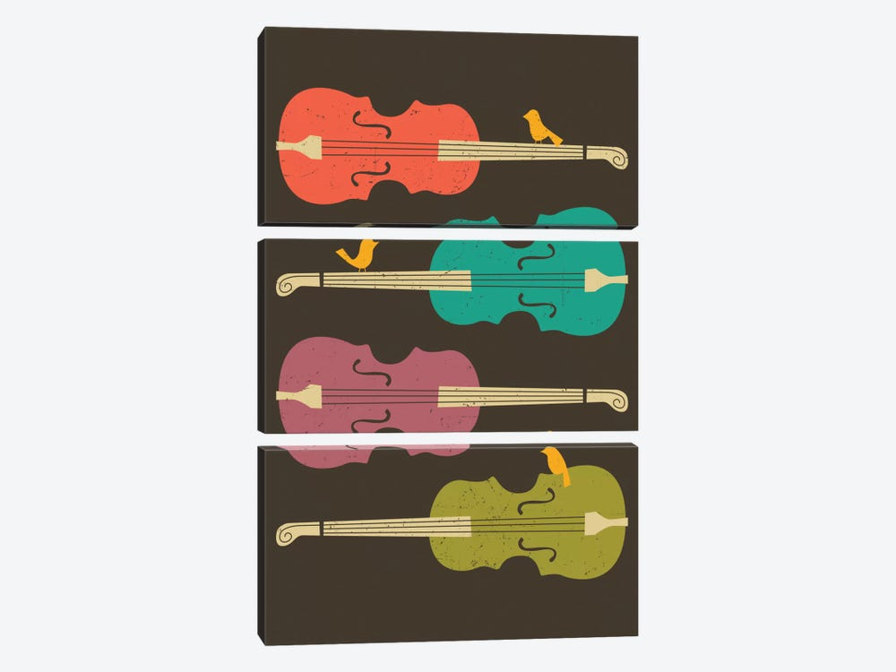 Birds On A Cello String by Jazzberry Blue 3-piece Canvas Art