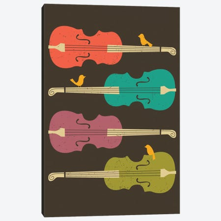 Birds On A Cello String Canvas Print #JBL9} by Jazzberry Blue Canvas Print